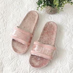 Victoria's Secret PINK Velour Single Strap Slides